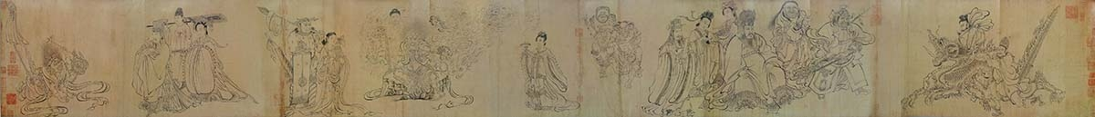 唐 吴道子 送子天王图 纸本35.5x338 日本大阪市立美術館