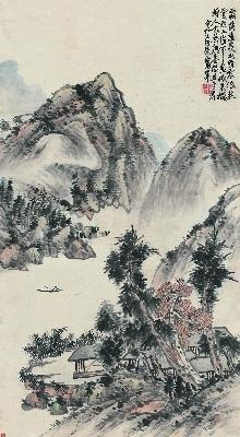 114-仿吴仲圭山水图-3