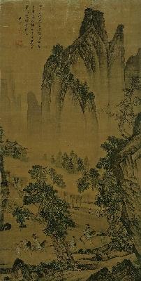 (玄)明 唐寅 松林扬鞭图 绢本 145.3x72.5