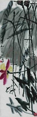 齐白石-荷塘双鱼图