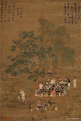 北宋 赵佶 文会图 绢本184.4X123.9台北