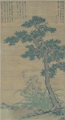 (玄)明 沈周 田椿萱图轴绢本93.6x171.4