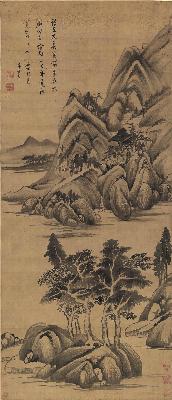 明 董其昌 石田诗意山水图 绢本 56.7x131.6