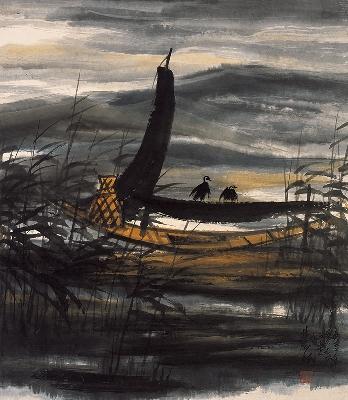 林风眠 天晚渔舟 60X70