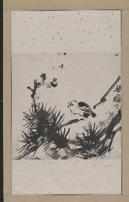 李苦禅 松林小鸟图轴 53×83