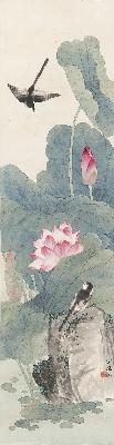 田世光 荷塘双燕-1 33.4x130