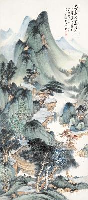 张大千 仿董源华阳仙馆图 纸131X57.5(天津博物馆)