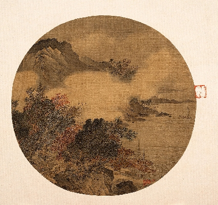 明 佚名 风雨泊舟图纨扇22.5×20.5cm.