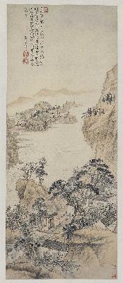 清 石涛 对菊图纸本99.7×40.2