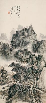 黄宾虹-峨眉龙门峡40x88