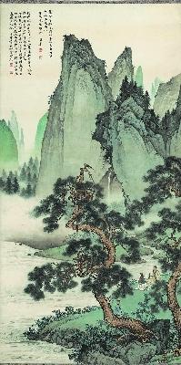 陈少梅 仿刘松年松泉图轴 纸本66x132.5