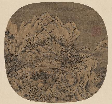 明 佚名 雪景山水图页绢本55X60
