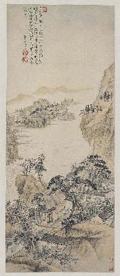 清 石涛 对菊图纸本99.7×40.2故宫