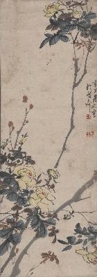 陈半丁-蔷薇花图轴82X29