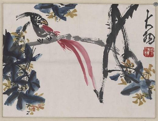 陈大羽-长尾鸟图轴