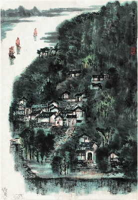 李可染 蜀中小景46×66