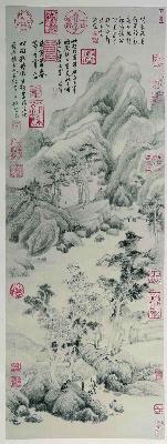 明 董其昌 葑泾仿古图 绢布 79.72x30.25