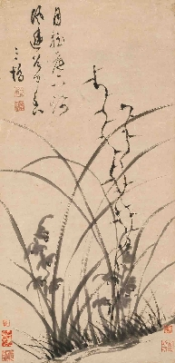 明 文彭 墨兰图(轴)纸本31X65_