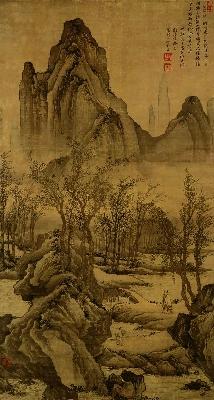 明 唐寅 步溪图绢本159x84.3