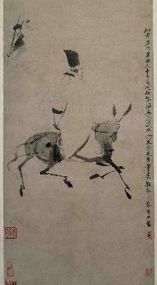 明 徐渭 驴背吟诗图轴纸本54x30
