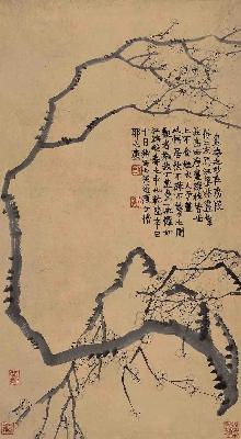 清 金农 梅花图轴纸本61x33