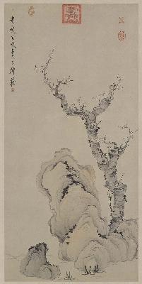 明 陈洪绶 梅石图轴纸本115.2x56北京故宫