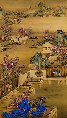 清 郎世宁 雍正十二月圆明园行乐图绢本188.2x102.2