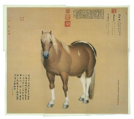 清 郎世宁 雪点雕绢本 97x110台北