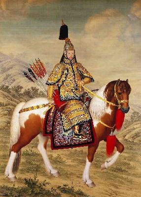 清乾隆 郎世宁《乾隆皇帝大阅图》轴53x38