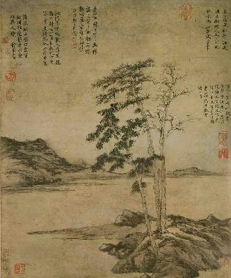 元 倪瓒 疏林图轴68x57日本
