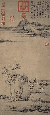 元 倪瓒 紫芝山房图轴80.5x34.8台北故宫