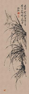 清 郑板桥  兰图(立轴)纸本182x57