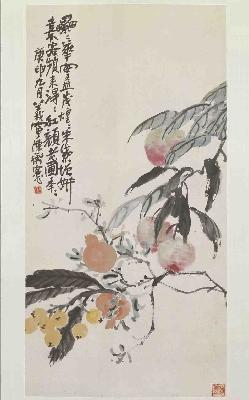 陈师曾 《桃榴枇杷图》轴  北京故宫