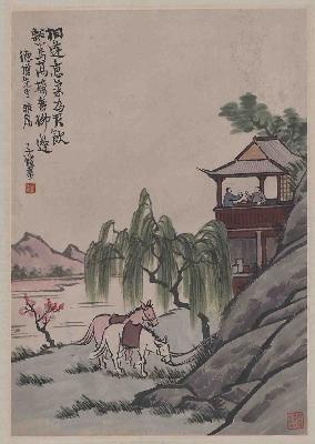 丰子恺-双马图轴