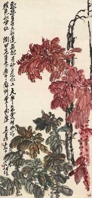 11吴昌硕 老少年轴 纸本50x108
