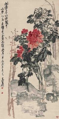 17吴昌硕沈香亭牡丹图60-121.3cm