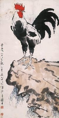 徐悲鸿-鸡图35x70cm