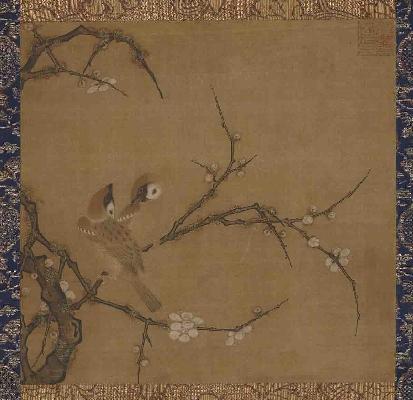 宋 马麟(传) 梅花双雀图28.0×29.0日本东京