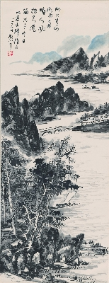 林散之 山水图轴32×84cm画芯