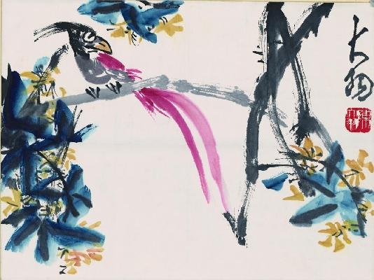 陈大羽 长尾鸟图轴45-34cm