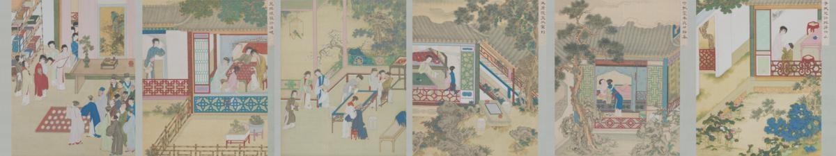 清 佚名 金瓶梅插图绢本33x178