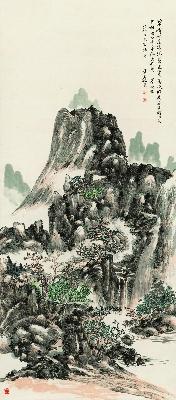 黄宾虹 白云半缕出松岩 48×110
