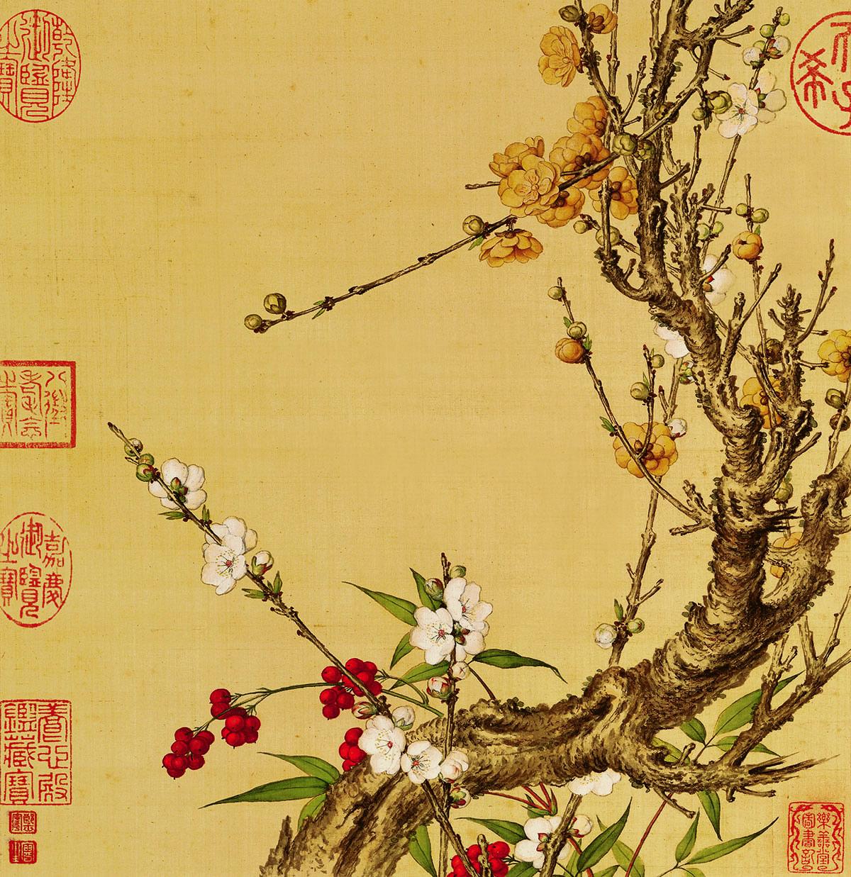 清 郎世宁 花鸟图册 1-16张作品欣赏