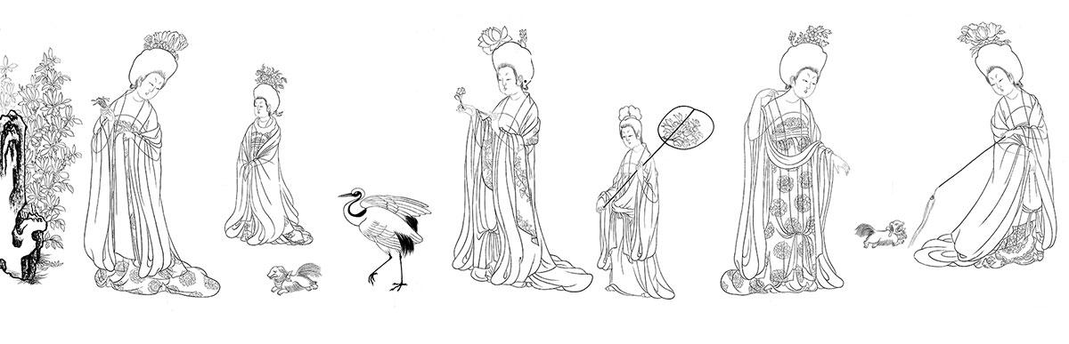 唐周昉簪花仕女图卷白描底稿白描线稿打印